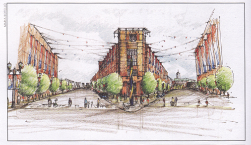 Spice Barrel District sketch, courtesy of NewCity