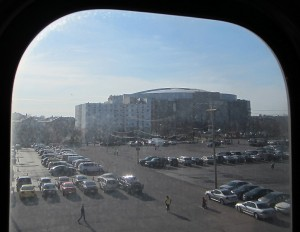 The United Center, as seen from the Pink Line. Photo: John Greenfield