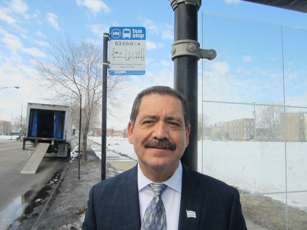 "Jesús ""Chuy"" García at a Woodlawn bus shelter. Photo: John Greenfield"