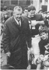 Walter L. Hass coaching on the sideline in 1967 (the author is #67)./Photo: Robert Rice/1968 Cap & Gown