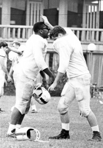 Martin Northway (right) in a 1968 or 1969 drill with teammate Jerry Culp.