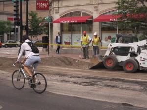 Construction for the Roosevelt sidewalk lanes. Photo: John Greenfield
