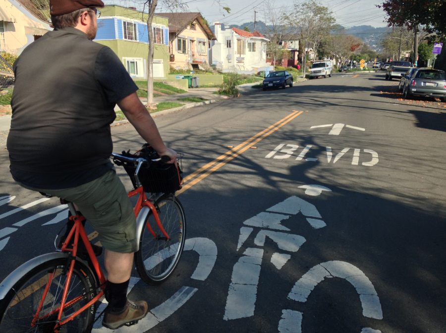Eric Anderson rides on a Berkeley bike boulevard. Photo: John Greenfield